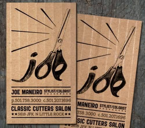 Joe Maneiro's classic cutters salon business card.