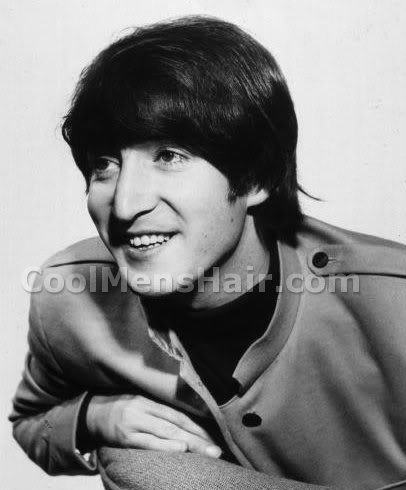 Picture of John Lennon mop top hairstyle.
