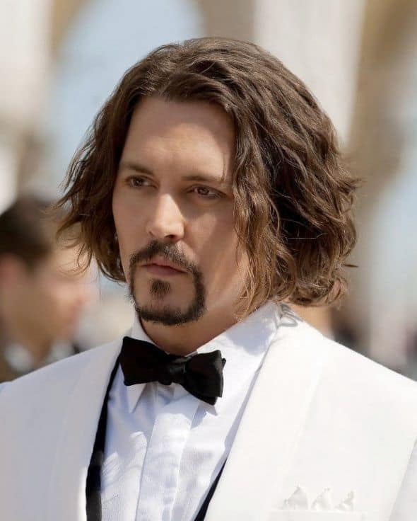 Johnny Depp with side swept hairstyles