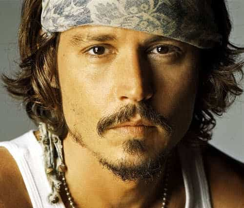 Picture of Johnny Depp with soul patch.