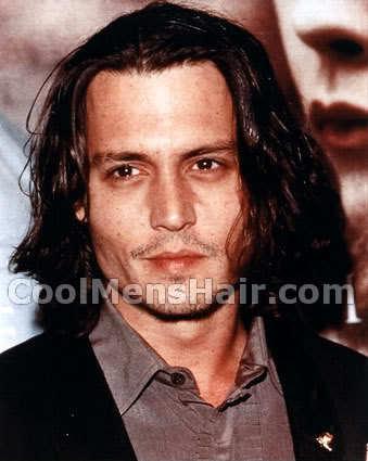 Photo of Johnny Depp long hair.