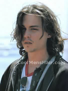 Picture of Johnny Depp long layered hairstyle.