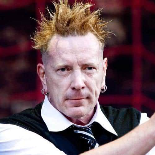 Picture of Johnny Rotten blonde spikey punk hairstyle.