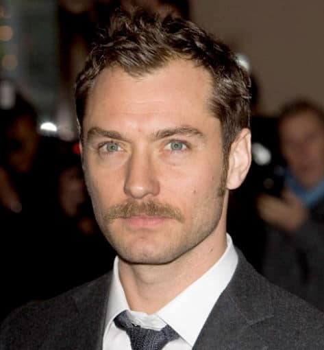 Photo of Jude Law with English Gent moustache.