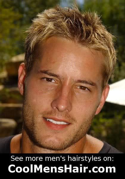 Image of Justin Hartley blonde hairstyle.