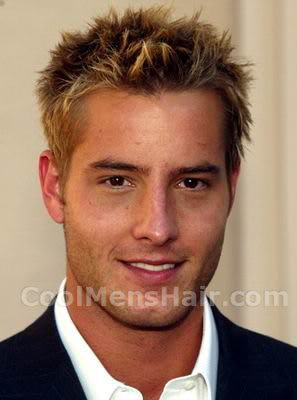 Photo of Justin Hartley messy spiky hairstyle.