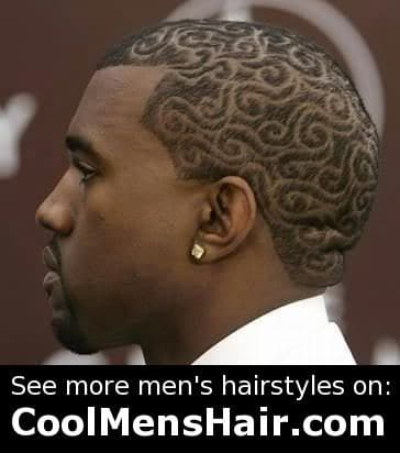 Picture of Kanye West tribal hairstyle.