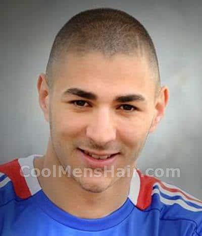 Picture of Real Madrid striker, Karim Benzema buzz cut.