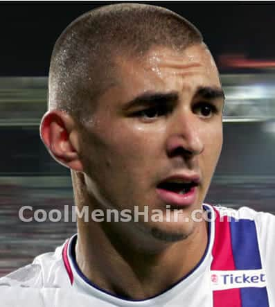 Photo of soccer player, Karim Benzema short buzz cut hairstyle.