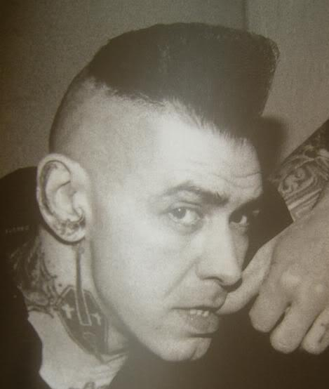 Photo of Kim Nekroman psychobilly hairstyle.