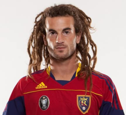 Photo of Kyle Beckerman dreadlocks hairstyle.
