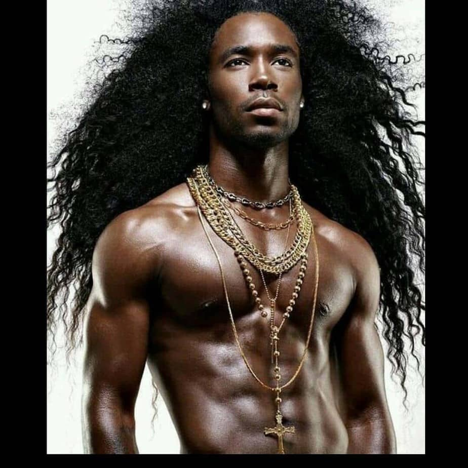 black men Long And Curly hair