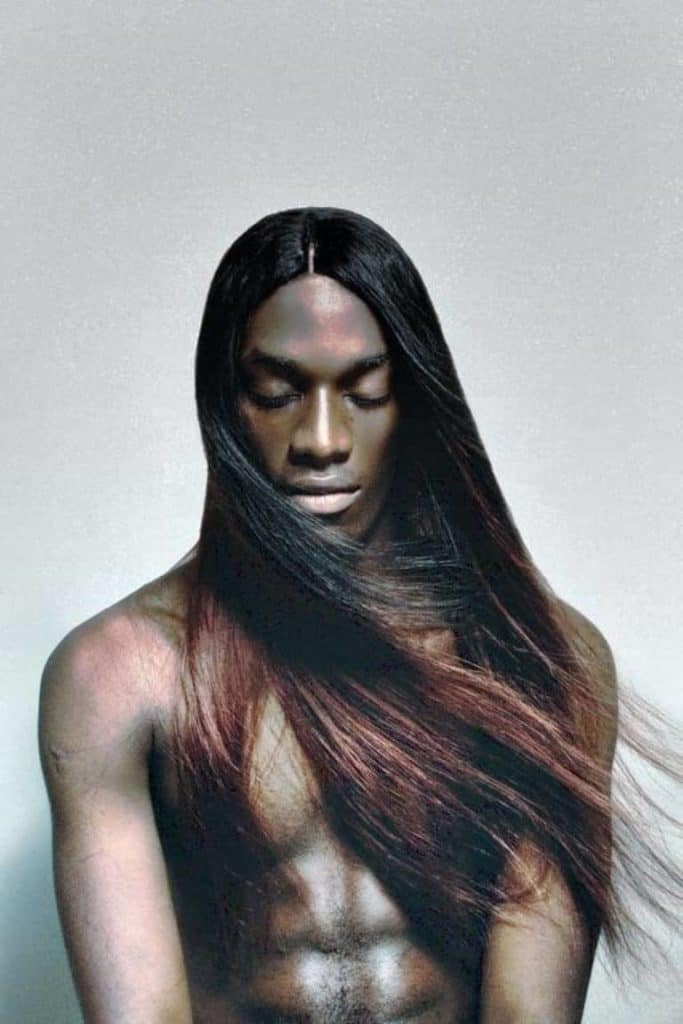 Straight black men long Hair