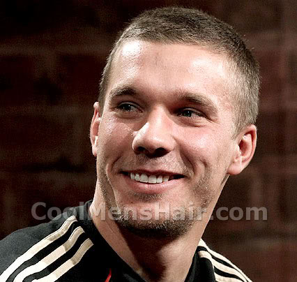 Picture of Lukas Podolski buzz cut hair.