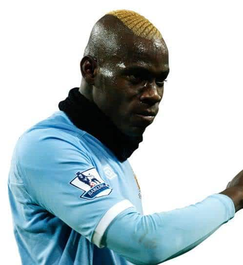 Image of Mario Balotelli wide mohawk hair.