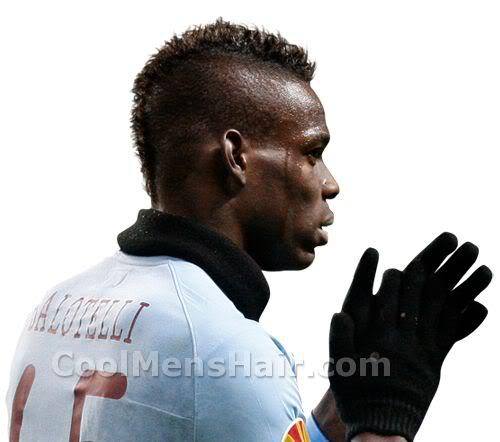 Image of Mario Balotelli mohawk haircut.