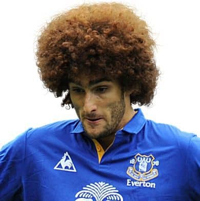 Photo of Marouane Fellaini curly afro hairstyle.