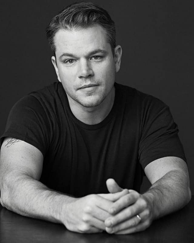 Matt Damon with brushed up hair