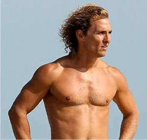 Matthew McConaughey surfer hairstyle