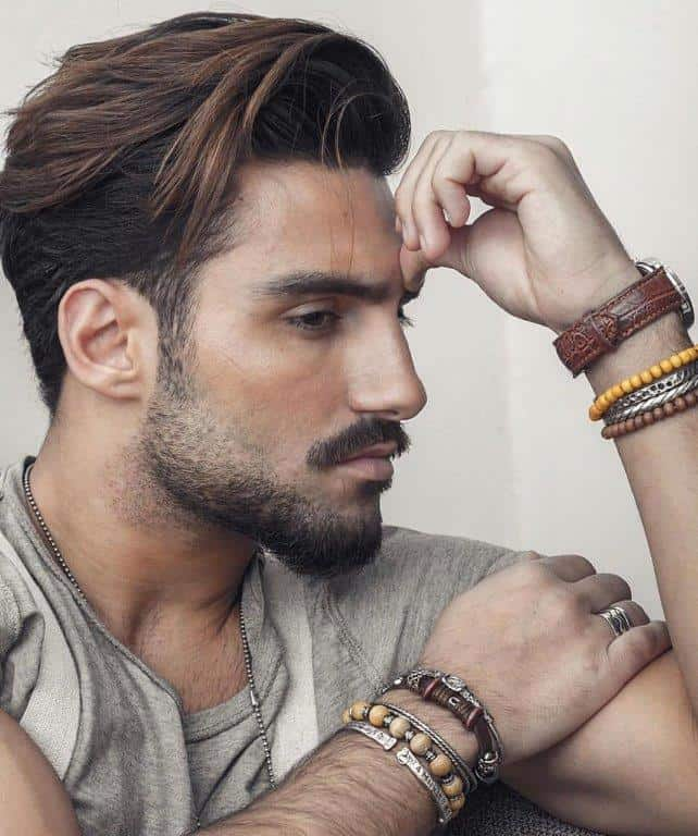 Medium hairstyles for men with side swept thick hair