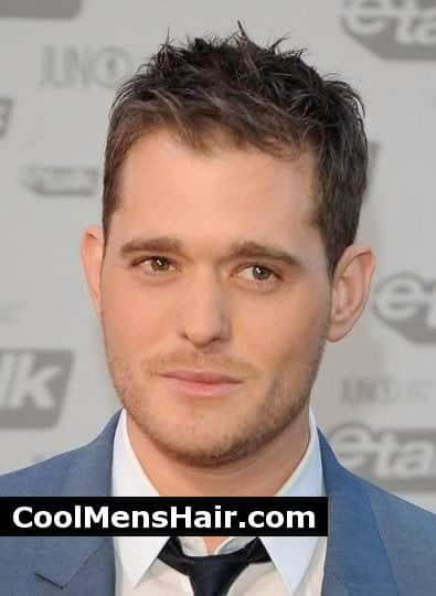 Picture of Michael Buble short men hairstyle.