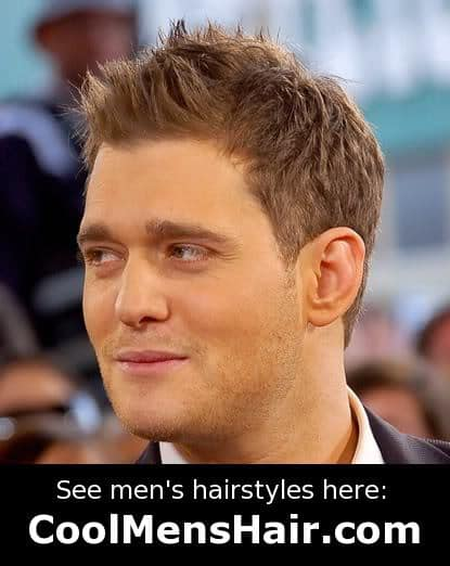 Image of Michael Buble male short spiky hairstyle.