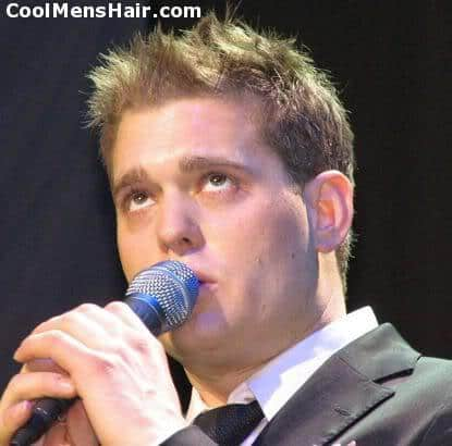 Photo of Michael Buble short spiky hairstyle.
