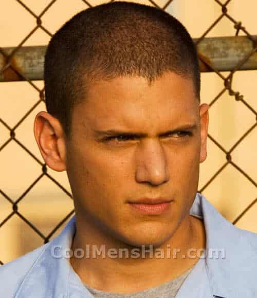 Photo of Michael Scofield buzz cut hair.