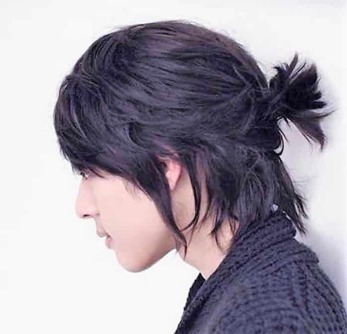 mini man bun with long hair