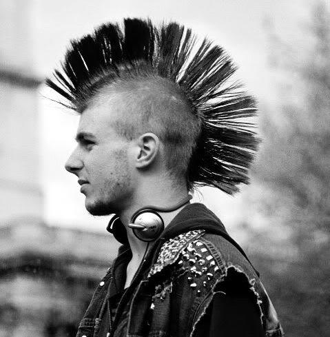 single strip mohawk hairstyle.