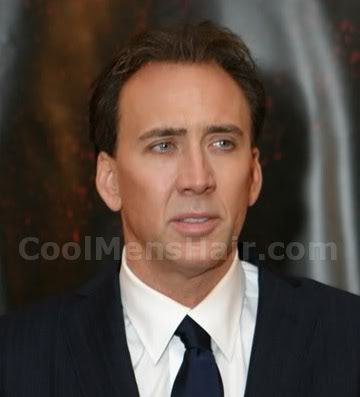 Picture of Nicolas Cage swept back hairstyle.