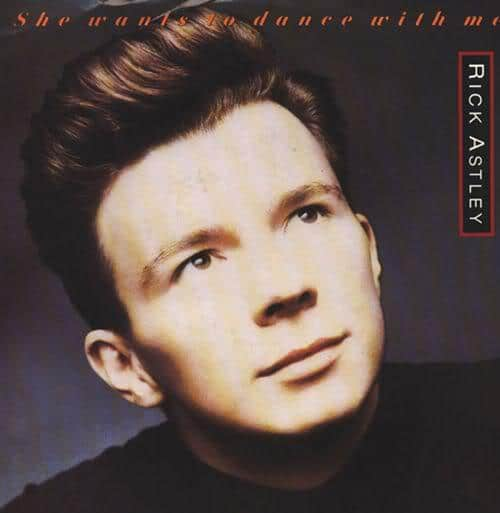 Photo of Rick Astley pompadour hairstyle.