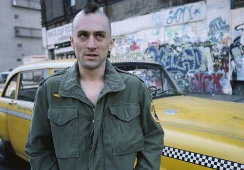 Robert De Niro as Travis Bickle in Taxi Driver movie.