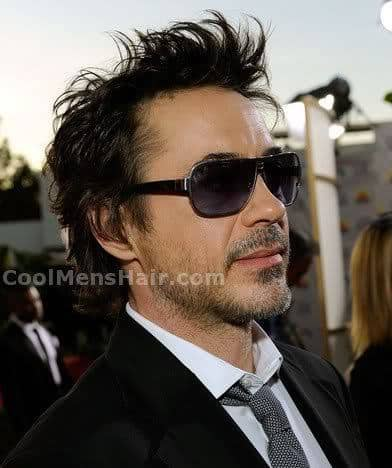 Picture of Robert Downey Jr. funky hairstyle.