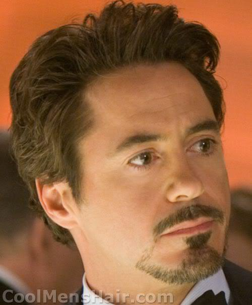 Photo of Robert Downey Jr. goatee in Iron Man movie.