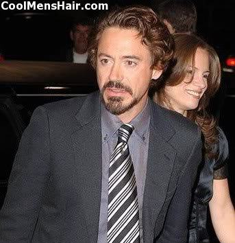 Picture of Robert Downey Jr. natural waves hairstyle.