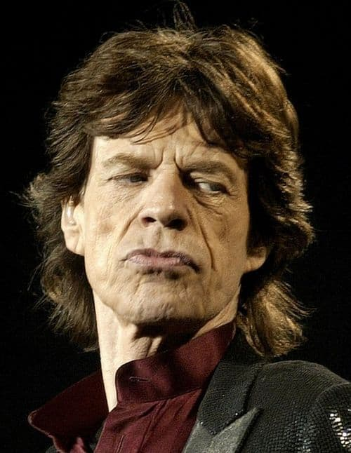 Photo of Mick Jagger hairstyle.