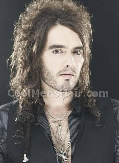 Photo of Russell Brand long hairstyle.