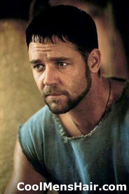 Photo of Russel Crowe caesar cut.