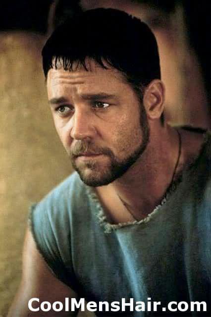 Photo of Russel Crowe caesar cut.