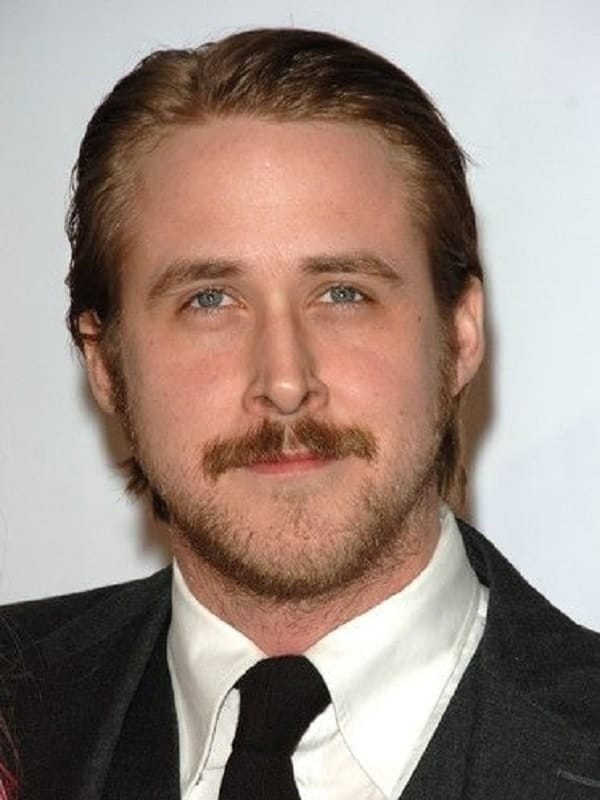 Ryan Gosling hairstyles with mustache