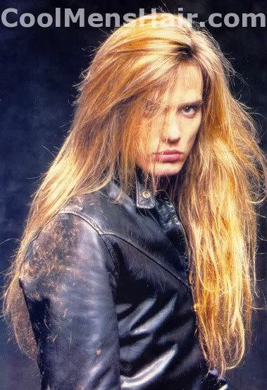 Picture of Sebastian Bach long hairstyle.