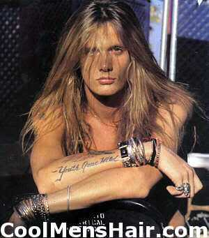 Image of Sebastian Bach straight hairstyle.