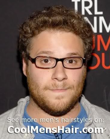 Picture of Seth Rogen curly hairstyle for men.