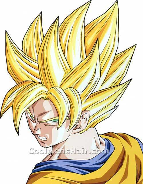 Image of Son Goku blonde spikey hairstyle.