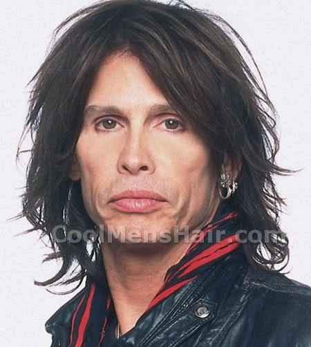 Picture of Steven Tyler long rock hairstyle.
