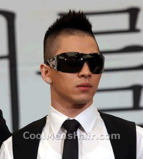 Image of Taeyang razored mohawk hairstyle.