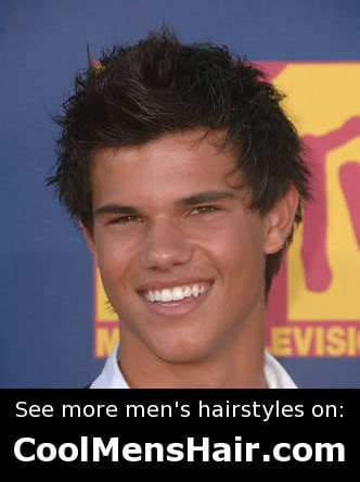 Cool messy hairstyle from Taylor Lautner.