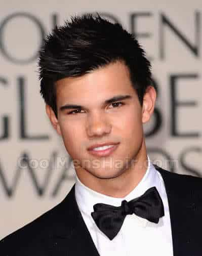 Photo of Taylor Lautner with short spiky hair.