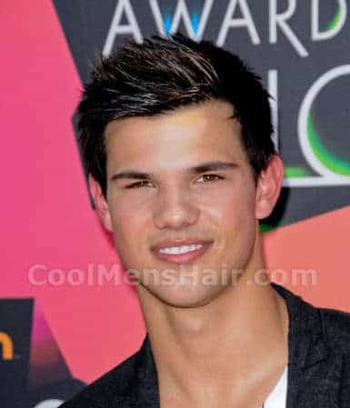 Picture of Taylor Lautner short spiky hairstyle.